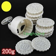 New version Round Shape Hand pressure Moon Cake Mold 200g One Barrel 11 Stamps