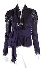 VALENTINO $6,055 Midnight Blue Silk Sequin Embellished Wrap Jacket 6