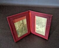 Vintage Small Red Double Picture Holder With Black & White Photos