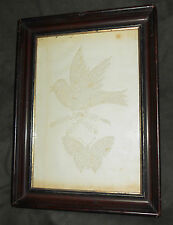 Scarce Antique Folk Art 1860s Pinprick Picture of Bird and Butterfly