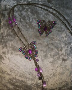 Stunning ladies Matching Long Large Diamante Butterfly Necklace & Ring Set.