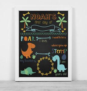 Personalised framed blackboard print wipe clean first day school dinosaurs