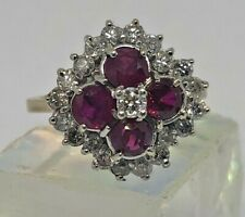 Vintage 9k Yellow Gold, Ruby & Diamond Cluster Ring - Size: O - Weight: 5.28g