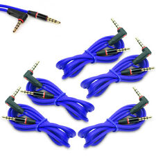 5X 4FT 3.5MM AUX AUXILIARY L-SHAPE AUDIO CABLE BLUE FOR NOKIA LUMIA 820 Z10 Z30