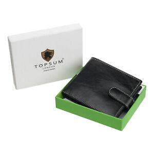 Topsum London Mens RFID BLOCKING Billfold Wallet With Zip Coin Pocket 4019 Black