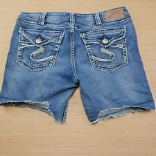 Silver Jeans Tuesday Women Thick Stitch Cut Off Short Denim Buckle Sz 33