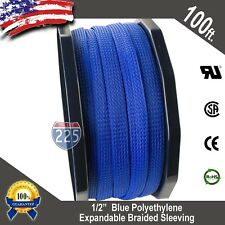 """100 FT 1/2"""" Blue Expandable Wire Cable Sleeving Sheathing Braided Loom Tubing US"""