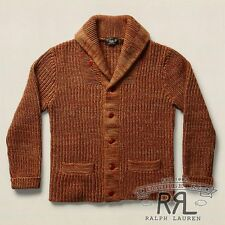 $495 RRL Ralph Lauren Rust Marl Made in USA Wool Cotton Sweater Cardigan-MEN-S