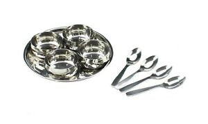 9pc Stainless Steel Relish Chutney Pickle Dish Thali Bowls Serving Bowls Nuts