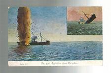 Mint WW1 German Navy U Boat Submarine picture Postcard Kriegsmarine Sinking Ship