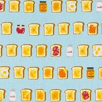 Breakfast Club Toast  By The yard Cotton Print Cosmo