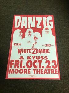 "Danzig White Zombie Kyuss Portland 1992 Cardstock Concert Poster 12""x18"""