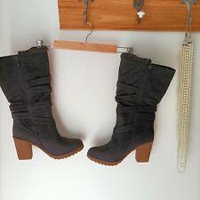 BNIB NOVO Danielle boots black sz 10 AU block Heels teddy faux suede calf length