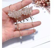 Asos GOLD CRYSTALS PEARL XXL Extra Long massive Tassel Chain Pierced Earrings
