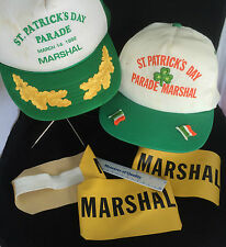 Saint Patricks Day Hats Parade Marshal lot of 2 Green Patty plus 5 Armbands Uc