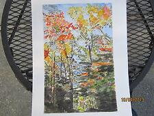"Original Watercolor / Fall in Salisbury, CT / 10"" x14"" / Mimi Davis, Artist"
