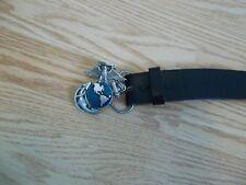 1995 Stati Uniti Marines Emblema Cintura Fibbia W/Cintura IN Pelle Nera EUC