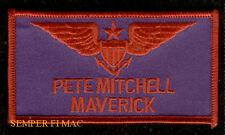 LT PETE MITCHELL MAVERICK US NAVY PILOT WINGS PATCH TOP GUN F14 TOMCAT USS GOOSE