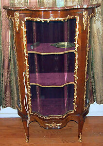"""VITRIN 19C FRENCH BRONZE WORK AND GLASS DOORS  WITH MARBEL TOP :57"""" HIGH"""