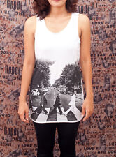 THE BEATLES ABBEY ROAD ROCK Pop Art WOMEN T-SHIRT TANK TOP Tunic Dress Size S M