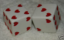 "1"" HUGE WHITE WITH RED HEARTS OPAQUE DICE PAIR"