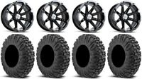 "MSA Black Diesel 14"" UTV Wheels 30"" MotoVator Tires Polaris RZR Turbo S / RS1"