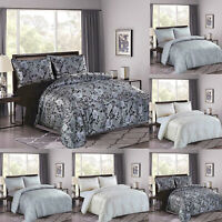 New 3 Piece Luxury Printed Jacquard Cleo Duvet Quilted Cover with 2 Pillow Shams