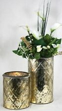 Candle Holder Flower Vase Antique Style Decor Distressed Glass Gold Metal Ring