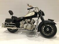 Metal Tin Black & White Motor Bike Model Harley Davidson Cruiser Style '27cm'