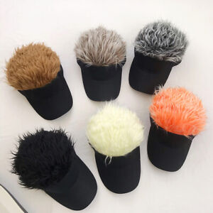 Fashion Men Adjustable Wig Visor Sun Cap Baseball Golf Hat with Fake Hair