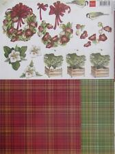 A4 3D Paper Tole with Printed 1/2 Sheet Christmas Wreath Flower Bird 6 Pictures