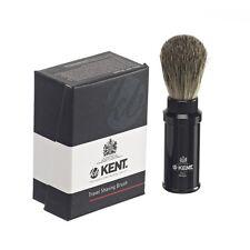 Kent Travel Shaving Brush Badger Lightweight Black Anodized Aluminium  SHAVE TR2