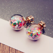 Female Jewelry Double Sided Stars Transparent Crystal Ball Ear Stud Earrings