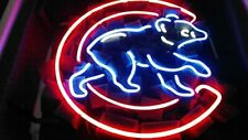 "New Chicago Cubs Logo Neon Light Sign 17""x17"" Beer Bar Man Cave Real Glass"