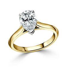 2.50 Ct Pear Cut Bridal Diamond Engagement Ring 14K Solid Yellow Gold Size N O