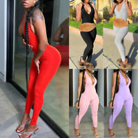 Women's Bodysuit Jumpsuit Rompers Bodycon Yoga Fitness Workout Tight Casual Suit