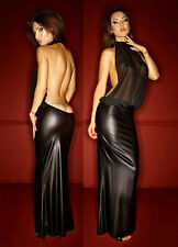 Sexy PVC look Black Faux Leather Gothic Fetish lingerie Bondage Long dress