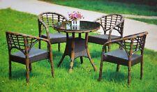 Poly Rattan Gartenmöbel Gartengarnitur  Sitzgruppe Essgruppe Tisch +4 Stühle