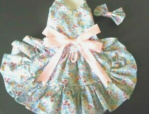 DOG DRESS/HARNESS   BLUE  PINK CALICO      NEW FREE SHIPPING
