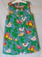 Girls Boden Green Pink Birds Owl Fully Lined Sleeveless Cord Dress Age 5-6 Years