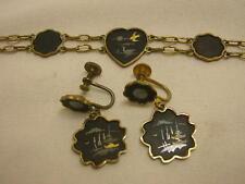 """Vtg Damascene Bracelet & Screwback Earrings Japan Birds Ducks Hearts 7 1/2"""" Long"""