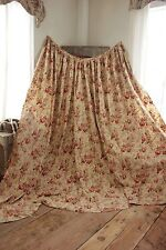 Antique Curtain French faded floral c 1890 bed curtain LARGE yellow ground