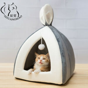 Pet Cat Bed Indoor Kitten House Warm Small Enclosed Collapsible Sleeping Mats