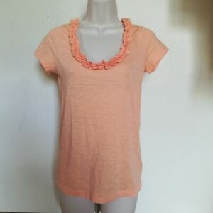 J. Crew Juniors' Size S Salmon Clustered Ruffle Scoop Neck 100% Cotton Tee Shirt