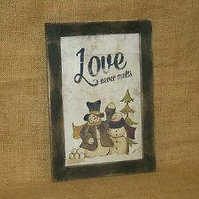 Love Never Melts Snowman Wall Picture Hearthside Collection