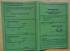 Datenblatt ABE Betriebserlaubnis Roller VESPA N blanko reißfest Wachspapier