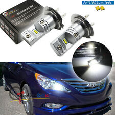 2PCS Pure White H7 Philips Luxen LED Bulbs For Hyundai On High Beam DRL Lights