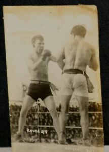 1910 Ad Wolgast and Battling Nelson, Round 27, Original Real Photo Postcard
