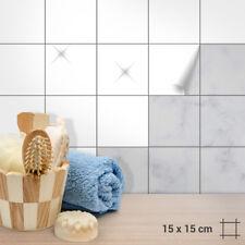 Fliesenaufkleber 15x15cm Weiß Matt o. Glänzend für Küche, Bad, Dusche langlebig