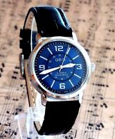 Vintage FHF ST 96 Swiss Made Hand Winding Blue Dial Mens Watch Mint Condition
